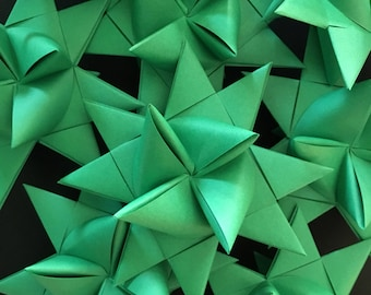 13 Medium Green German Paper Stars Quick Order Ready to Ship Moravian Stars Star Ornaments