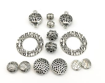 14 beads and connectors  antique silver #CON065