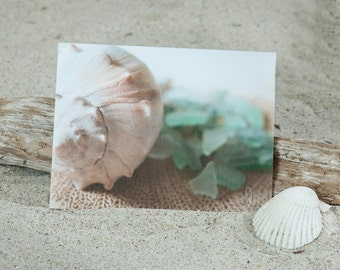 Sea Glass Note Card | Coastal Greeting Card | Stationery | Coastal Note Card | Coastal Shell Note Card | Lisa Vohwinkel Photography |