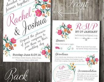 Personalised Vintage Wedding Invitation