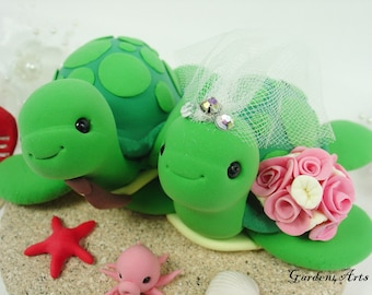 Wedding Cake Topper--Green Sea Turtle with Sand Base for Summer Beach Wedding