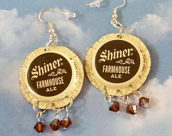 Earrings Bottle Cap Shiner Farmhouse Ale Jewelry Recycled Beer Bottle Cap