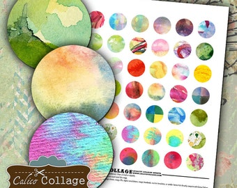 Watercolors Digital Collage Sheet 1 Inch Circle Images for Bottle Cap Jewelry Bright Images for Pendants Earrings Bottle Caps Calico Collage