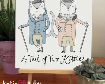 Tail of Two Kitties,  210 x 210mm Cat Pun Print, Gifts for Cat Lovers