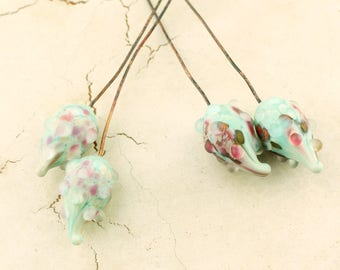 Lampwork Headpins, Glass Bead Head Pins, 2 Pair Nubbly Pod on Antique Copper Wire Turquoise, Aqua, Green, Blue, Pink