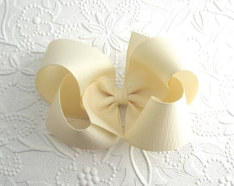 "5"" Extra Large Hair Bow, Ivory Cream Hair Bow, Girls Hair Bows, Hair Bow, Boutique Hair Bow, Big Hair Bows, No Slip Hair Bow"