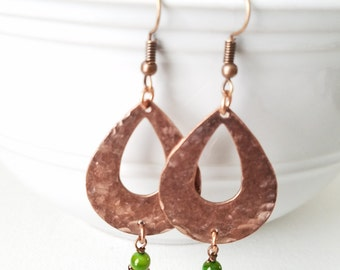 Hammered Antiqued Copper Tear Drop Earrings Vintage Copper teardrop Earrings accented with green bead