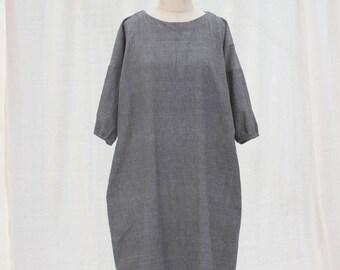 Grey long dress / Black gray dress / Midi dress / Minimalist dress / Grey cotton dress / Maxi winter dress in grey medium weight cotton