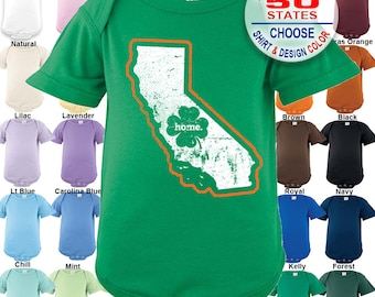 California Home State Irish Shamrock Bodysuit - Boys / Girls / Irish / St. Patty's Day