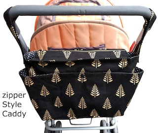 stylish pram caddy / stroller organiser / wheelchair organiser /shoulder bag/ pram bag with flap close or zipper close- golden ferns