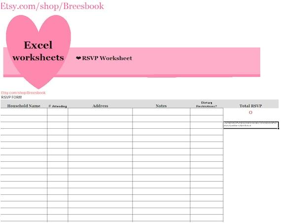 wedding invitation spreadsheet