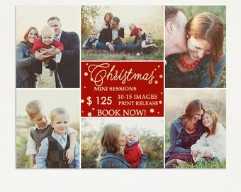 Christmas Mini Session Template - Photography Marketing Board - Holiday Minis - Photoshop Template 027 - ID270, Instant Download