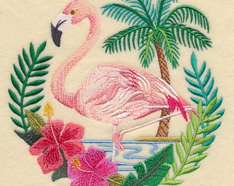 Flamingo Scene Embroidered Flour Sack Hand/Dish Towel