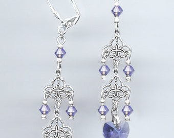 Delicate Filigree Chandelier Earrings Handcrafted with Swarovski TANZANITE Crystal Hearts in Gold or Silver Finish - Includes Gift Box