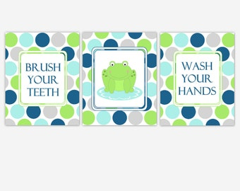 Kids Bath Art Frog Bathroom Prints Aqua Blue Green Frog Brush Your Teeth Wash Your Hands Kids Bath Decor Child's Bathroom Frog Wall Decor