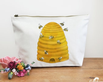 Bee Hive Canvas Wash Bag, Large Zipper Pouch, Makeup Bag, Toiletry Bag, Accessory Bag, Bee Gift