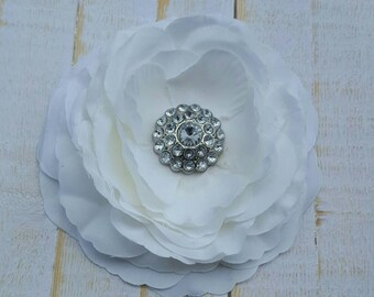 "White Flower Clip White Hair Flower 3.5"" White Ranunculus Hair Clip Rhinestone Hair Clip Wedding Bridesmaid Flower Girl Communion Hair Clip"