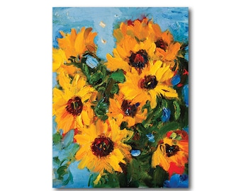 Giclee Fine Art Print - Sunflowers - Floral Still Life Oil Painting Impressionist Abstract Yellow Prints Flowers Paintings Wall Decor