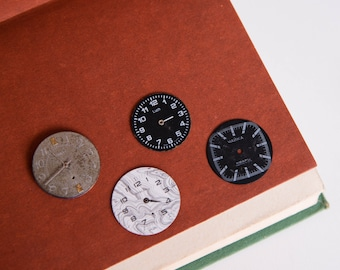 Soviet Wrist Watch Face Parts - lot of 4, Vintage Watch Dials, Steampunk, Old Russian Watch Faces