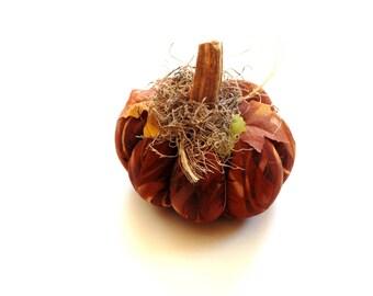 Halloween pumpkin, fall mantle, fabric pumpkins, stuffed pumpkin, brown amber, real pumpkin stem, rustic home, Thanksgiving table fall decor