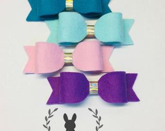 Set of 4 Felt Hair Bows, Easter Hair Bows, Felt Headbands, Easter Headbands, Toddler Girl Headbands, Easter Hair Clips, Baby Headbands