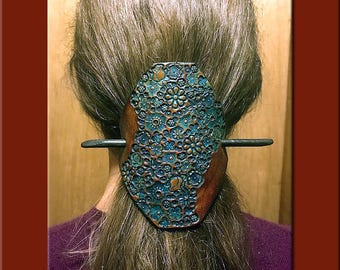 TURQUOISE FLOWER GARDEN Design. A Fully  Handcrafted, Hand Tooled Leather Hair Barrette