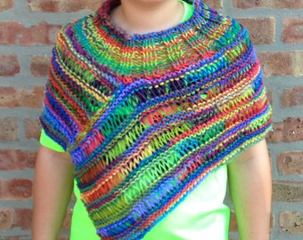 Asymmetric Lightweight Vest  Hand Knit Wrap Shawl Handmade Poncho For Girl Ready To Ship