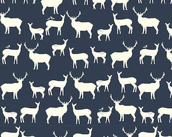 SALE KNIT Elk Grove Elk Family Dusk Navy Blue Birch Organic Fabrics Jersery Deer Fabric All Natural One Yard, More Available