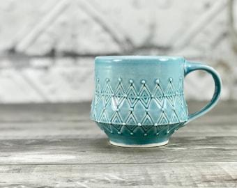 Blue mug: wheel thrown pottery mug petite mug handmade porcelain mug stamped mug ceramic cup favorite pottery mug small mug tea cup unique