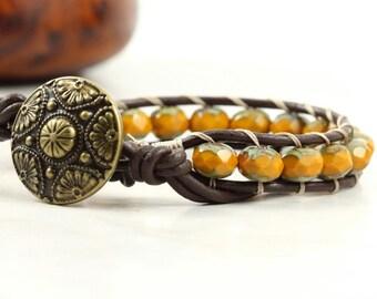 Bohemian Jewelry Burnt Orange Wrap Bracelet Beaded Bracelet Rustic Wrap Bracelet Pumpkin Jewelry Autumn Boho Jewelry Leather Jewelry Hippie