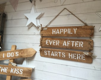 Happily Ever After wooden sign. Rustic handmade wooden personalised sign perfect for a Wedding or the home. Keepsake gift