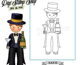 Top Hat Man Stamp, Digital Stamp, Tuxedo Stamp, Digi Stamp, Boy Stamp, Color In Page, Card Design, Lineart, Formal stamp,