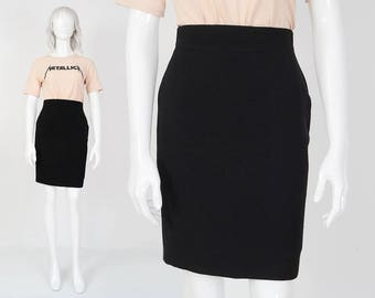90s Black Wool Pencil Skirt | size Small | French Wool High Waist Knee Length Minimal Classic Wiggle Skirt | Made in France