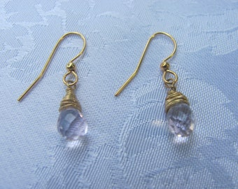 Pale Pink Wire Wrapped Crystal Earrings