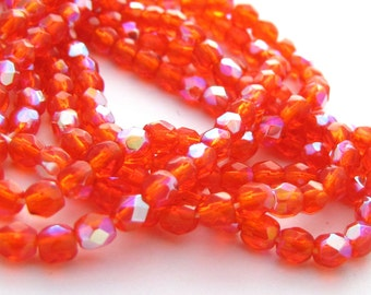 Hyacinth Orange AB 3mm Facet Round Czech Glass Fire Polished Beads 50pc #2483