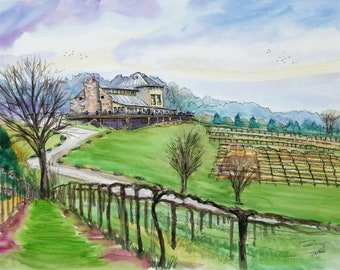 """Original Ink and Watercolor painting  from Chandler Hill Vineyards Winery. Defiance - Augusta - Missouri 12""""x16"""". A view from the vineyard"""