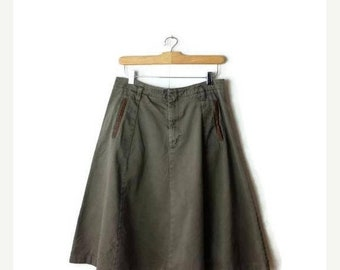 ON SALE Vintage Olive Green Cotton Flare Skirt from 80's/W29*