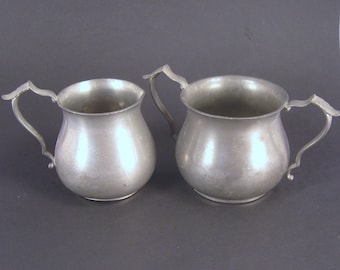 Cream and Sugar, Vintage, Pewter, Table Decor, Rustic Wedding, Shabby Chic, Vintage Dining, 347