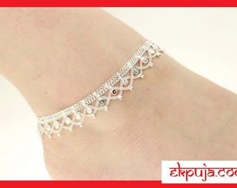 INDIAN TRADITIONAL PAYAL Silver coloured ankle chain payal Anklet Bollywood payal pair