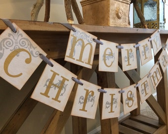 Christmas Banner Gold and Silver Merry Christmas Banner Garland Christmas Banner / Merry Christmas Garland / Holiday Decor