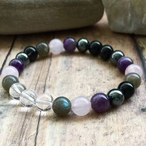 Empath Protection Bracelet, Aura Protection, Empath Jewelry, Negative Energy Protection Mala, Energy Cleansing Jewelry, Empath Crystals.
