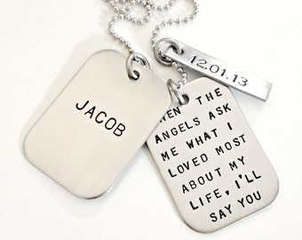 Personalized Dog Tags - Hand Stamped Dad Daddy Memorial Remembrance Infant Child Loss Necklace - Custom Mens Jewelry - Name, Phrase, Date