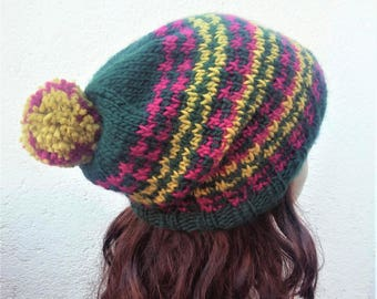 HOUNDSTOOTH Hat Womans Green Slouch HAT/ Womans Handknit Hat /Green Pompom Hat / Green Wool-FreeBeanie/Houndstooth Pattern Hat/PompomBeanie