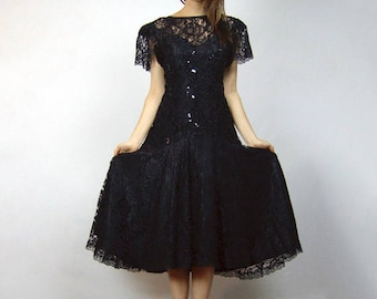 Halloween Dress Vintage 80s Party Dress Sequin Costume Goth Black Lace Dress Midi Dress Puff Sleeve - Medium M