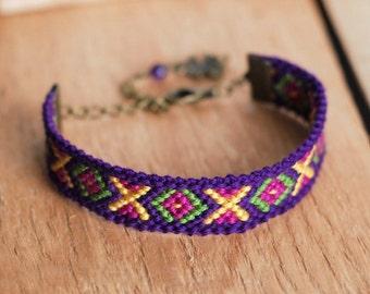 Amethyst Nomadic Bracelet, Lucky clover charm, Violet quartz gemstone, Aztec tribal multicolor ethnic eclectic southwestern geo kaleidoscope