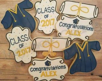 12 Graduation Sugar Cookies - Graduation 2017 Gift - Class of 2017 Party Favors