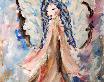 Angel Painting on Paper, Original Painting, Guardian Angel, Angel Art, Spiritual Painting