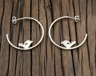Bird earrings Anniversary gift Silver hoop earrings Mothers day Gifts for mom gift Handmade jewelry Nature jewelry Best friend Gift for her