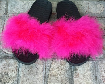 Nike Fur slides - Pink Furry Slides - Custom Slip Ons - custom slides - Celebrity fur slides - Rihanna Slides - pink furry - fuzzy sandals