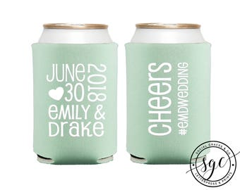 Hashtag Engagement Wedding Party Favors | Can Coolers | Personalized Bridal Gifts | Custom Drink Holders | Can Coolies | Drink Holders